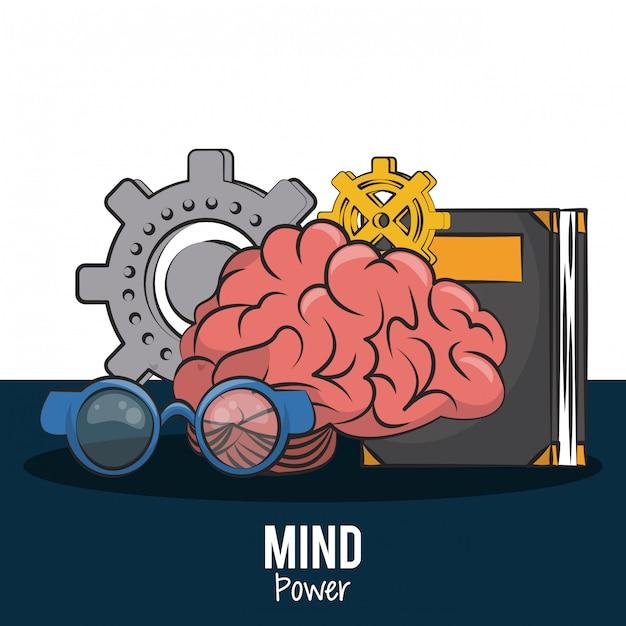 Cerveau Humain Avec Livre Et Lunettes Avec Engrenage Vector