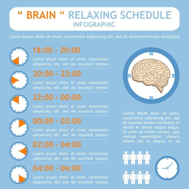 Cerveau relaxant plan horaire infographie Vecteur Premium
