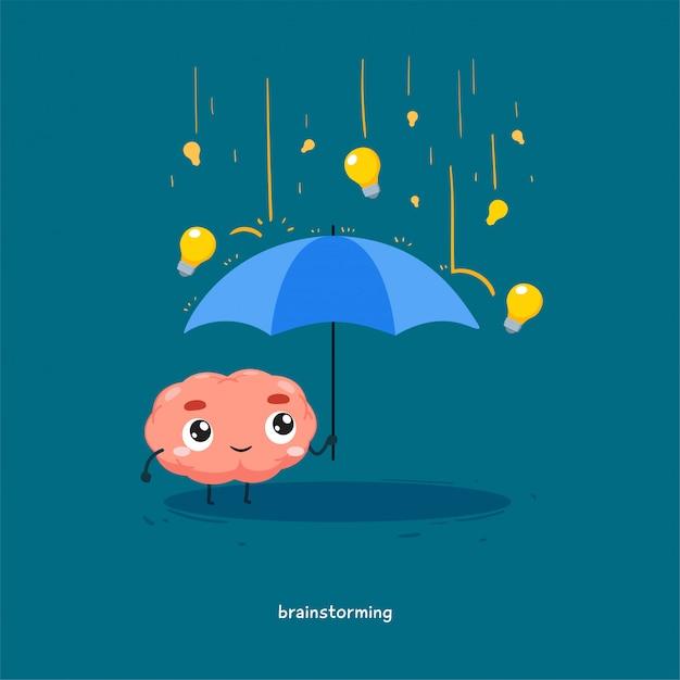 Le Cerveau Tient Un Parapluie Avec La Pluie D'ampoule. Vecteur Premium