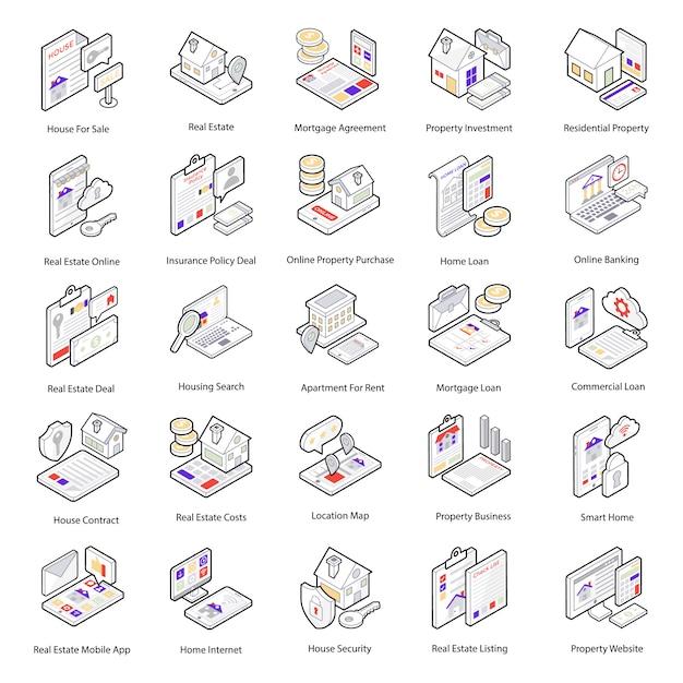 Cet ensemble d'icônes vectorielles immobilières à la mode est tout simplement parfait pour les agences immobilières et les agences d'assurance habitation, les annonces et le matériel promotionnel. Vecteur Premium