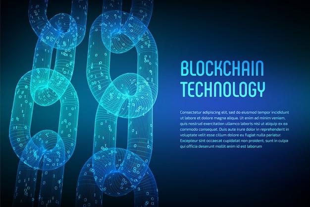 Chaîne De Bloc. Crypto Monnaie. Concept De Blockchain. Chaîne Filaire 3d Avec Code Numérique. Modèle De Crypto-monnaie éditable. Illustration Vectorielle Stock Vecteur Premium