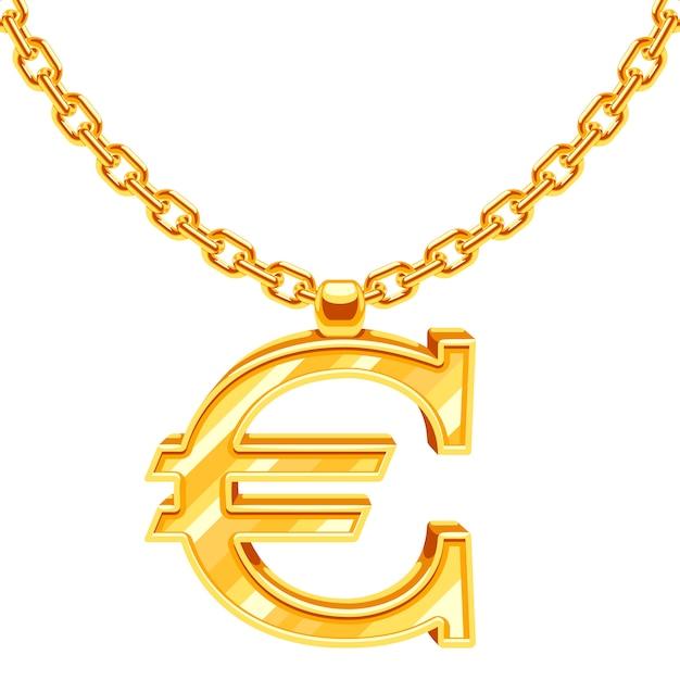 Chaîne de collier en or avec illustration symbole euro. valeur financière en or, monnaie européenne Vecteur Premium