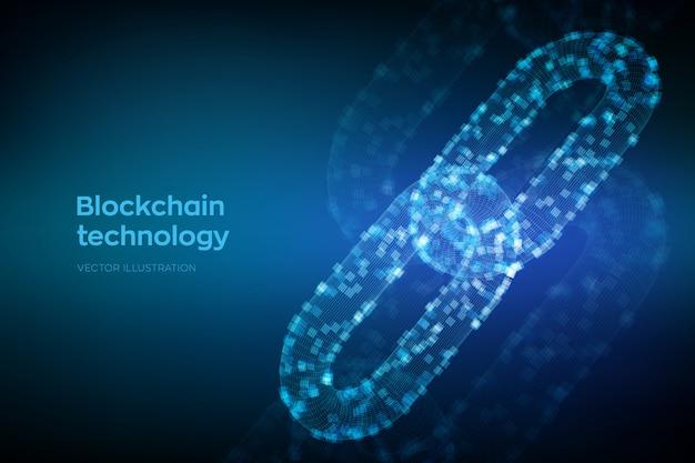 Chaîne Filaire 3d Avec Blocs Numériques. Concept De Blockchain. Vecteur Premium