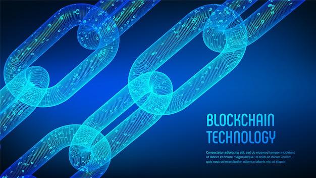Chaîne Filaire 3d Avec Code Numérique. Blockchain. Vecteur Premium