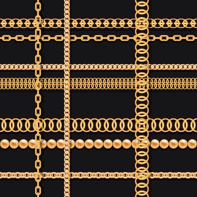Chaînes en or et perles sur le modèle sans couture de luxe noir Vecteur Premium