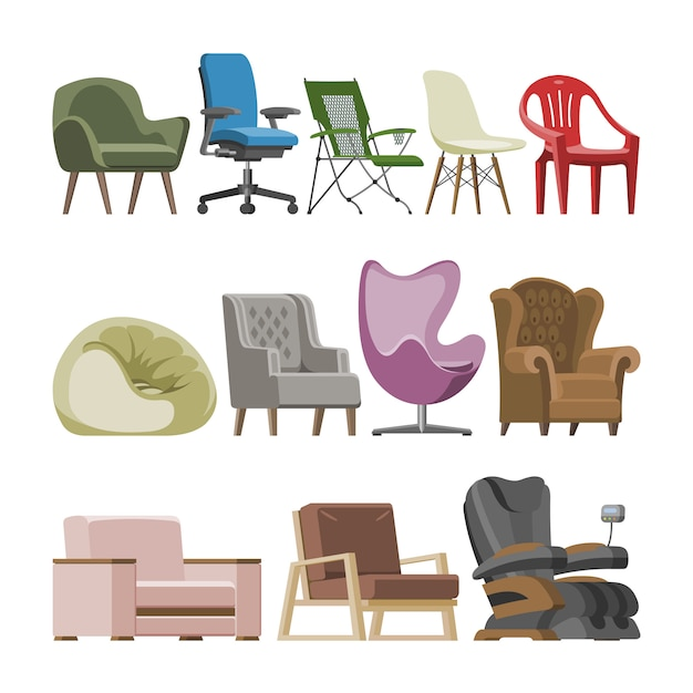 Chaire vector design confortable fauteuil et siège pouf en appartement meublé illustration intérieure ensemble de business office-chair ou easy-chair isolé. Vecteur Premium