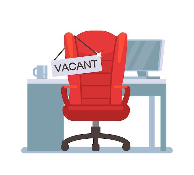 Chaise de bureau vide avec signe vacant. emploi, offre d'emploi et concept de vecteur d'emploi d'embauche. présider le travail vacant, rechercher l'illustration d'un employé Vecteur Premium