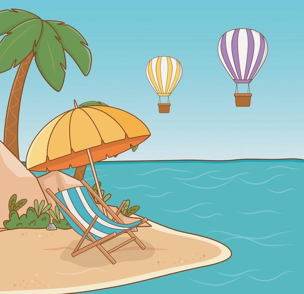 Chaise dans la scène de la plage Vecteur Premium