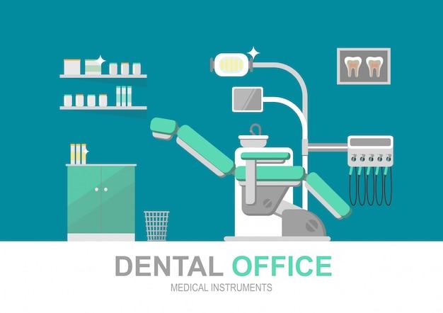 Chaise de dentiste isolée Vecteur Premium