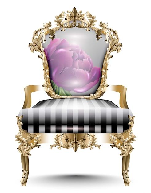 Chaise luxueuse baroque textile doux. vecteur des conceptions 3d réalistes. ornements sculptés en or Vecteur Premium