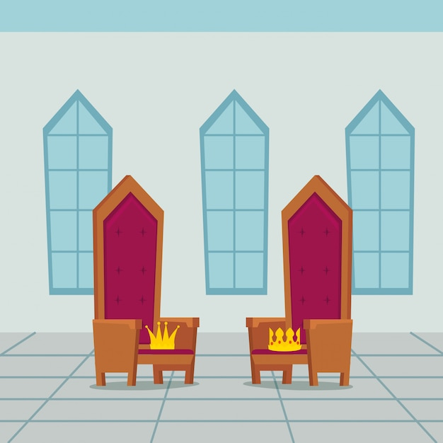 Chaise de rois dans le château intérieur Vecteur gratuit