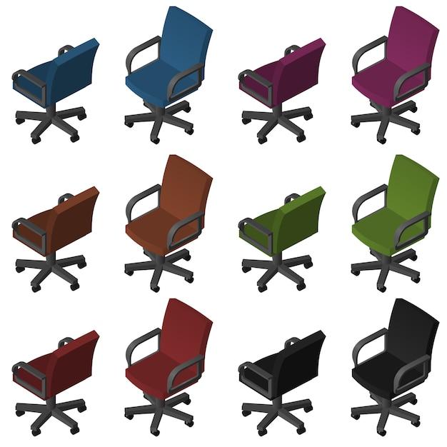 Chaises de bureau isométriques Vecteur Premium