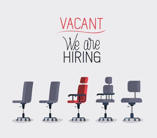 Chaises de bureau avec message d'embauche Vecteur Premium