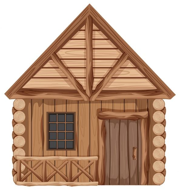 Chalet En Bois Avec Une Porte Et Une Fenêtre Vecteur Premium