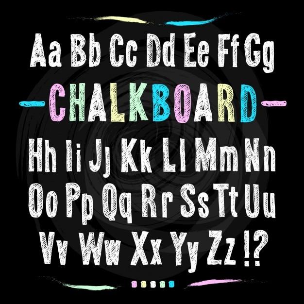 Chalkboard main de police dessiner alphabet vector illustration sur fond noir texture de fond Vecteur gratuit