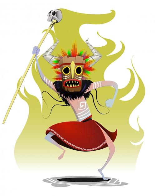 Chaman Dessin Animé Danse Rituel Magicien Maiking | Vecteur Premium