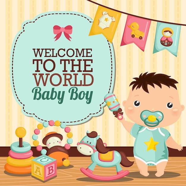Chambre bébé garçon Vecteur Premium