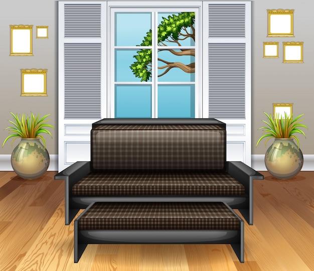 Chambre Avec Canapé Marron Sur Plancher En Bois Vecteur gratuit