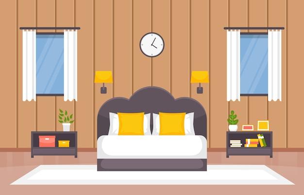 Chambre Chambre Couchage Lit Design Intérieur Illustration Maison Moderne Vecteur Premium