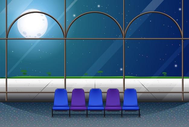 Chambre Dans Le Bâtiment La Nuit De Pleine Lune Vecteur gratuit