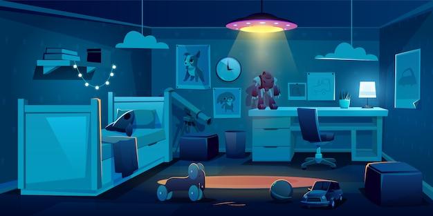 Chambre d'enfant pour garçon la nuit Vecteur gratuit