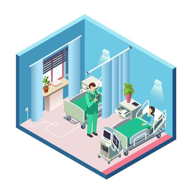 Chambre Du0027hôpital Moderne Isométrique, Section De La Salle Avec La Patiente  Au Lit