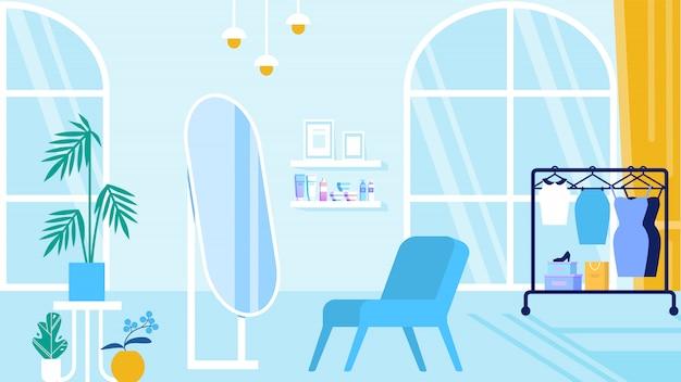 Chambre avec intérieur bleu salon de beauté et salle d'exposition Vecteur Premium