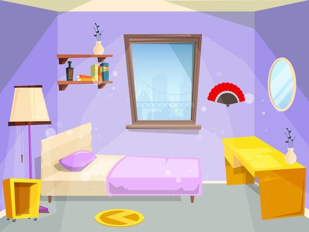 Chambre Pour Fille Chambre A Coucher Pour Appartement De Dessin Anime Enfants Fille Enfant Vecteur Premium