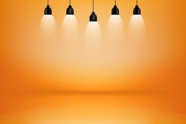 Chambre studio orange et jaune avec fond boîte à lumière ...