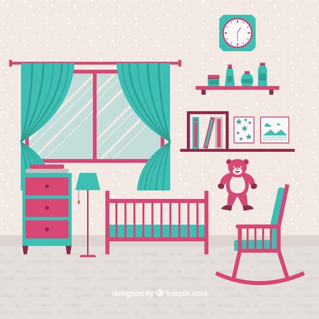 Chambre verte et rose bébé   Télécharger des Vecteurs gratuitement
