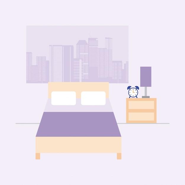 Chambre vide avec lit et fenêtre avec vue sur la ville, style plat Vecteur gratuit