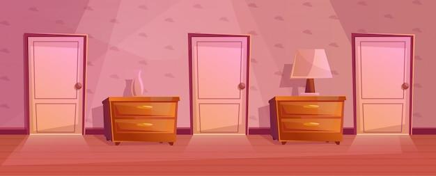 Chambres dans le couloir de l'hôtel. couloir Vecteur Premium