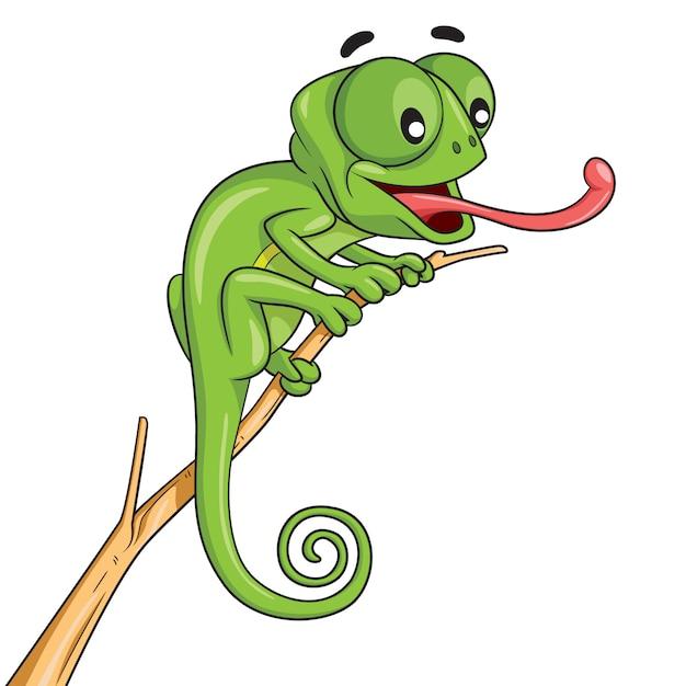 Chameleon cartoon Vecteur Premium