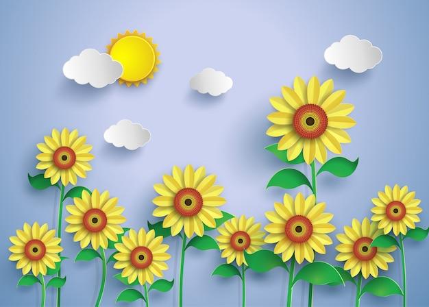 Champ de fleur du soleil Vecteur Premium
