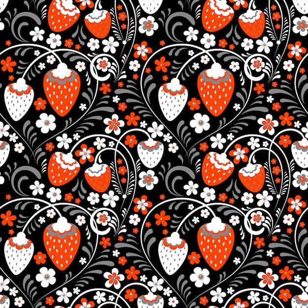 Champ de fraises dans le style folklorique russe Vecteur Premium