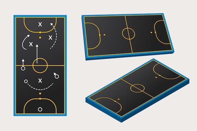 Champ De Futsal Dans Différentes Perspectives Vecteur gratuit