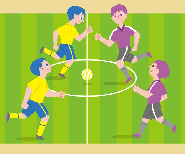 Champ De Futsal Avec Des Personnages Vecteur Premium
