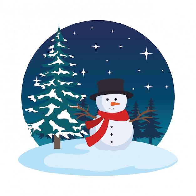 Champ de neige avec scène de bonhomme de neige Vecteur Premium
