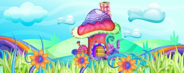 Champignons maisons dans l'illustration de jardin Vecteur Premium