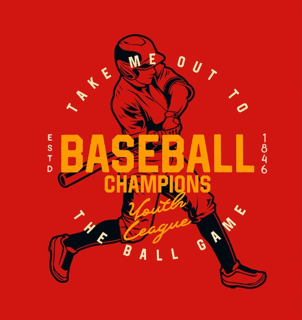 Champion de baseball de la ligue de la jeunesse Vecteur Premium