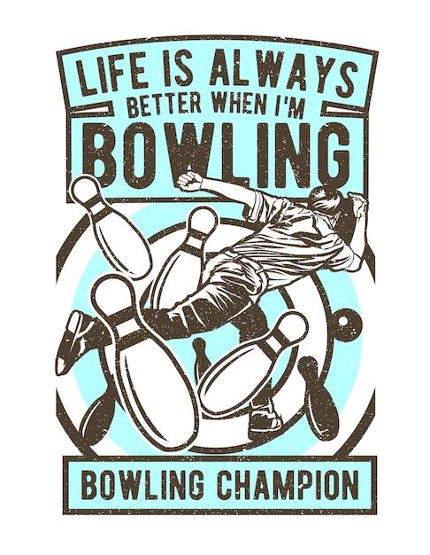 Champion de bowling Vecteur Premium