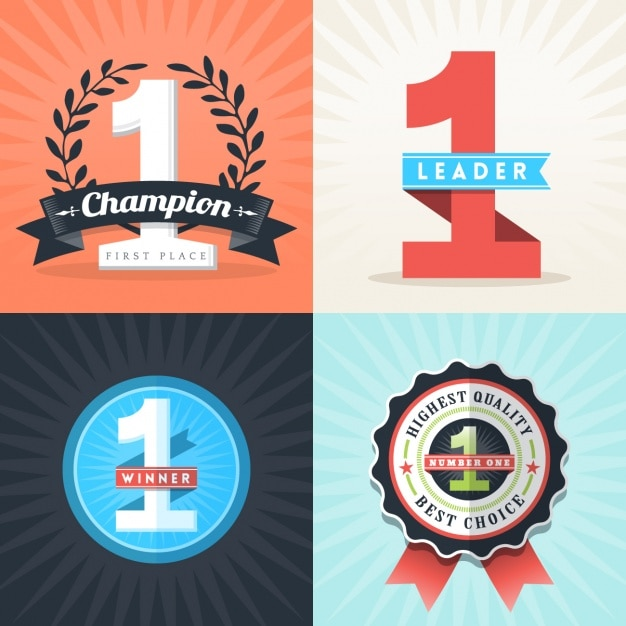 Champion insignes ensemble Vecteur gratuit