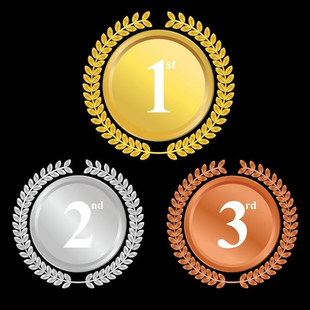 Champion des médailles d'or, d'argent et de bronze premium vector Vecteur Premium
