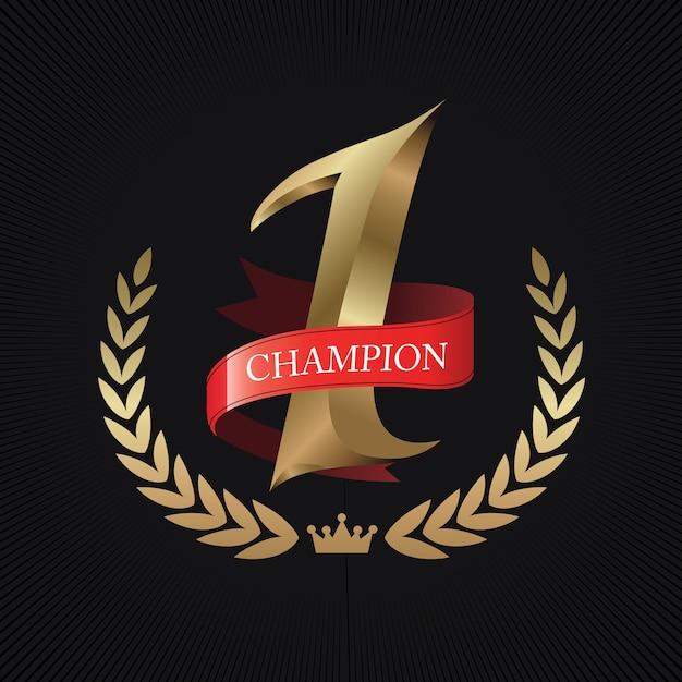 Champion, Numéro Un Or Avec Ruban Rouge Vecteur Premium