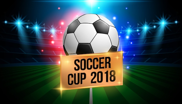 Championnat du monde de football 2018 avec fond de stade Vecteur Premium
