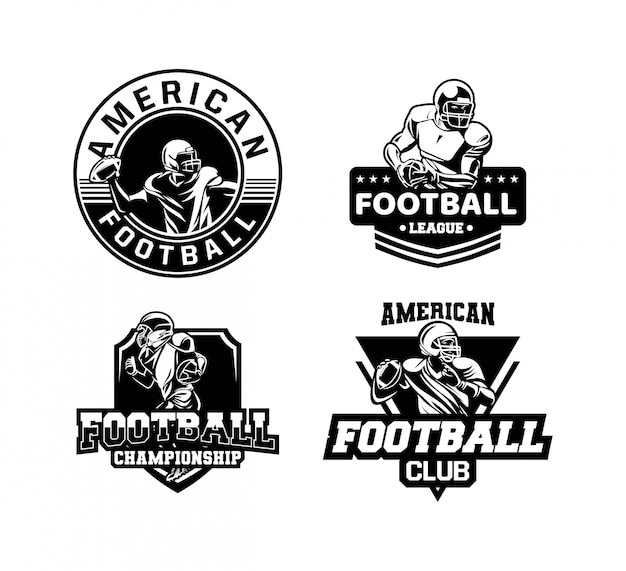 Championnat De Football Américain Set Badge Ou Logo En Noir Et Blanc Vecteur Premium