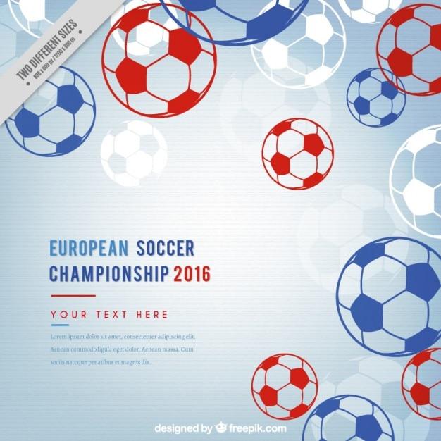 Championnat de football européen avec des balles tirées par la main Vecteur gratuit