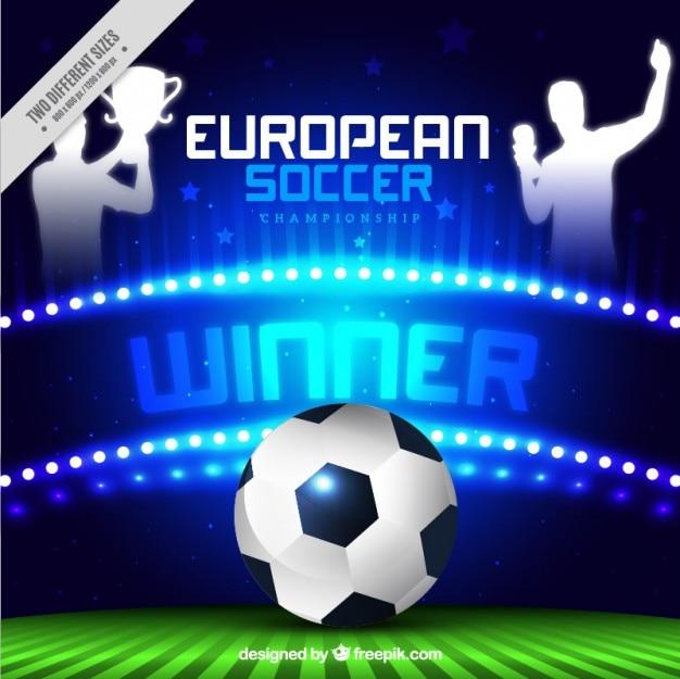 Championnat de football européen brillant avec une balle et gagnants Vecteur gratuit