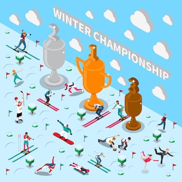 Championnat Des Jeux D'hiver Vecteur gratuit