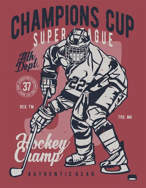 Champions Cup Hockey Vecteur Premium